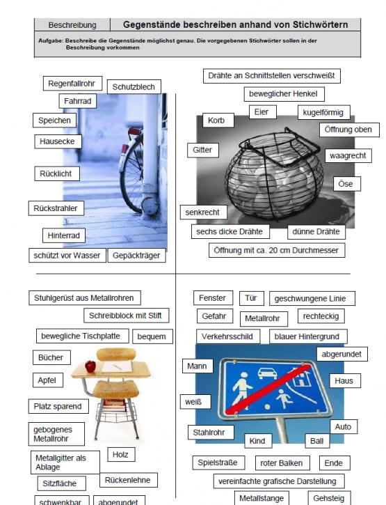 Gegenstände beschreiben anhand von Stichwörtern