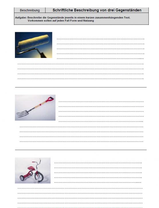 Schriftliche Beschreibung von drei Gegenständen