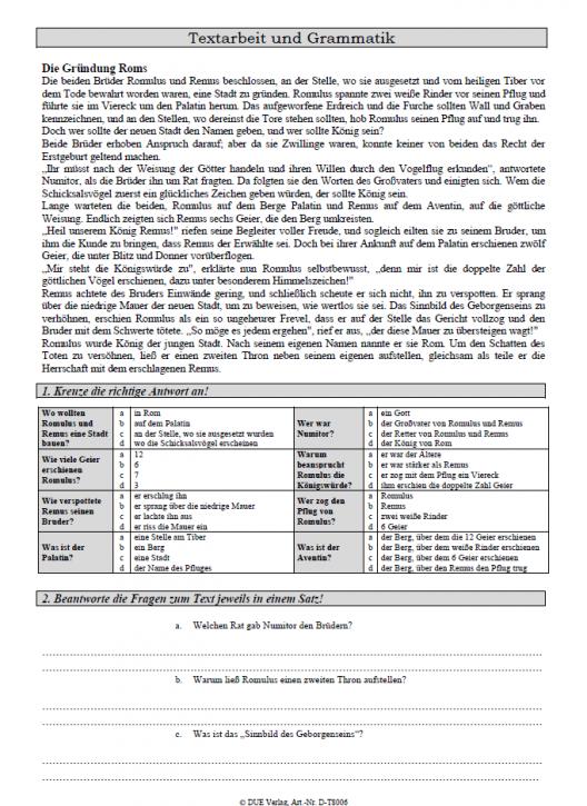Textarbeit: Die Gründung Roms