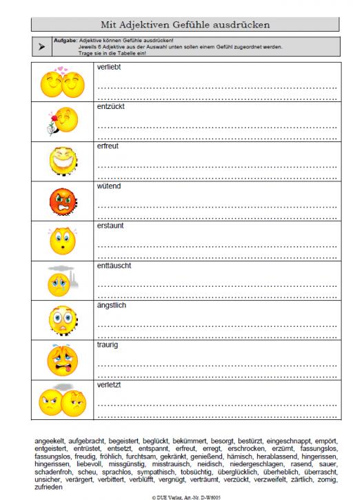 Mit Adjektiven Gefühle ausdrücken