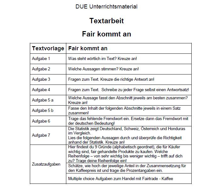 Textarbeit: Fair kommt an