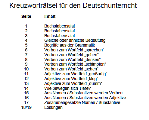 Kreuzworträtsel für den Deutschunterricht