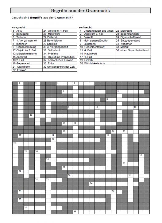 Kreuzworträtsel, Begriffe aus der Grammatik